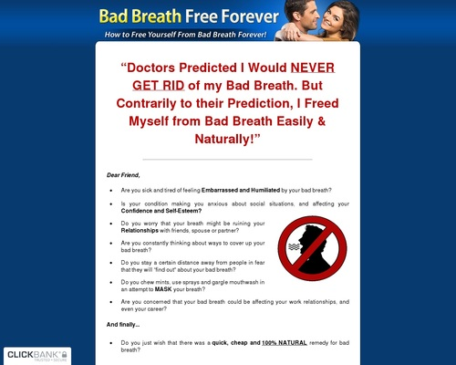 Unhealthy Breath Free Perpetually - The 100% Pure Treatment For Unhealthy Breath!
