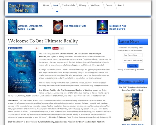 Welcome To Our Ultimate Reality - Articles - Our Ultimate Reality
